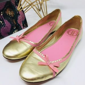 Lilly Pulitzer Gold and Pink pumps size 8.5